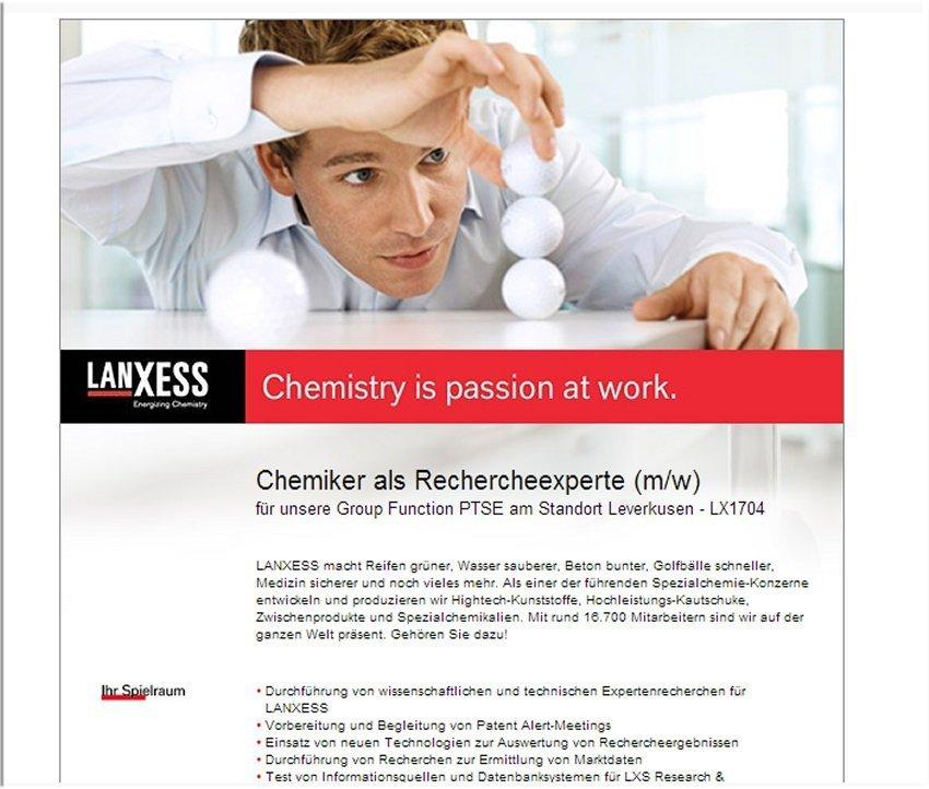 stellenausschreibung-lanxxess-chemiker-rechercheur