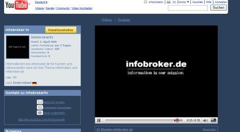 infobroker.de mit Channel bei YouTube
