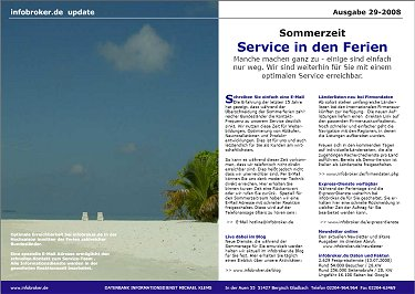 Newsletter in den Sommerferien
