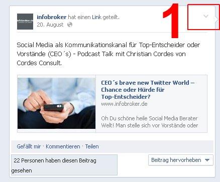 Facebook Embed Schritt für Schritt - Auswahl